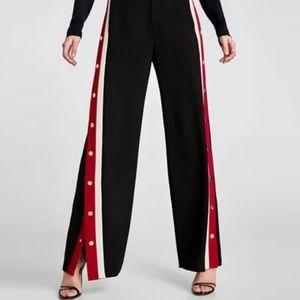Zara Tearaway Trouser Pant Black Red White Stripe